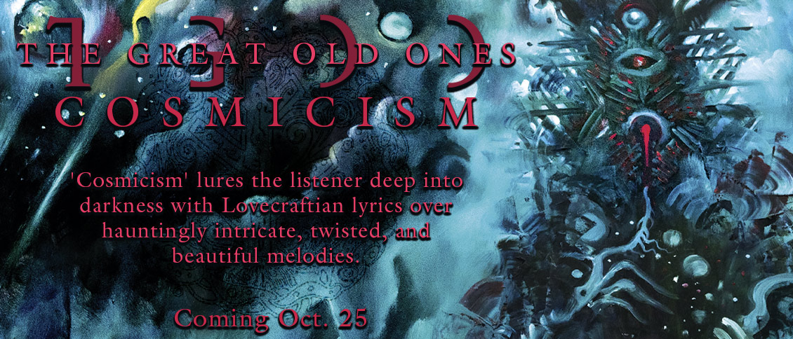 Channeling the spirit of author H.P. Lovecraft, French Atmospheric black metallers THE GREAT OLD ONES return with their most impressive work to date. 'Cosmicism' lures the listener deep into darkness with Lovecraft-inspired lyrics layered over hauntingly intricate, and twisted yet beautiful melodies. Descend into the unfathomable...